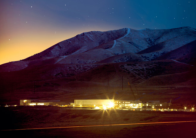 "The NSA's new spy center in Utah. ""Flowing through its servers and routers and stored in near-bottomless databases will be all forms of communication, including the complete contents of private emails, cell phone calls, and Google searches, as well as all sorts of personal data trails—parking receipts, travel itineraries, bookstore purchases, and other digital ""pocket litter."""" -- Source: Wired"