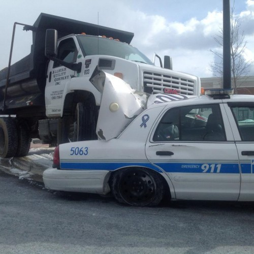 "Man Charged With ""Attempted Murder"" After Crashing Truck into Empty Police Car"