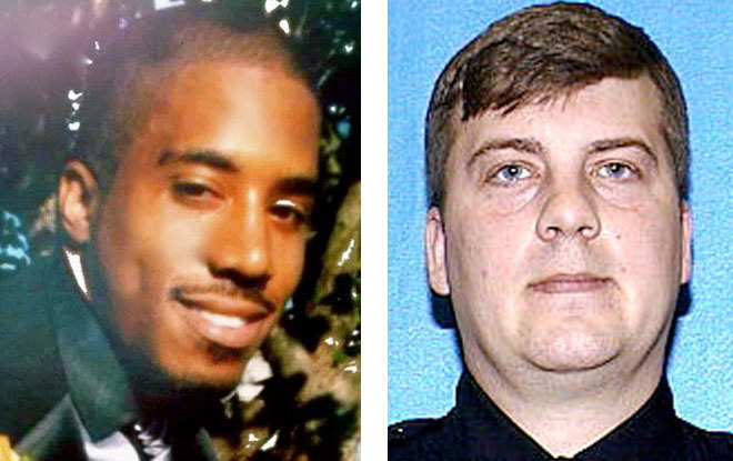 Dontre Hamilton (left) and fired Milwaukee Police officer Christopher Manney. Manney fired 14 shots at Hamilton at Red Arrow Park on April 30, 2014. Milwaukee Police Chief Edward Flynn fired Manney over the incident.