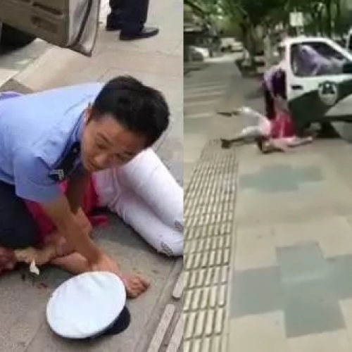 Video of Police Officer Knocking Down Woman and Child Incenses China