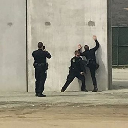 Police Officers Caught Posing, Trying to Climb Border Wall Prototype