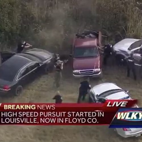 Crowd of Cops Caught on Camera Beating a Man Following a High-Speed Police Chase That Crossed Two States